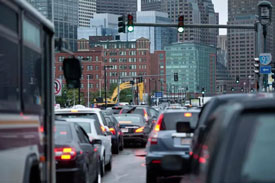 Traffic in front of South Station Boston Seaport